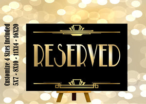 PRINTABLE RESERVED ,Gatsby party decoration, Roaring 20s Art deco,Wedding Sign, Wedding Decor, Gatsby Quote, 4 Sizes Included,