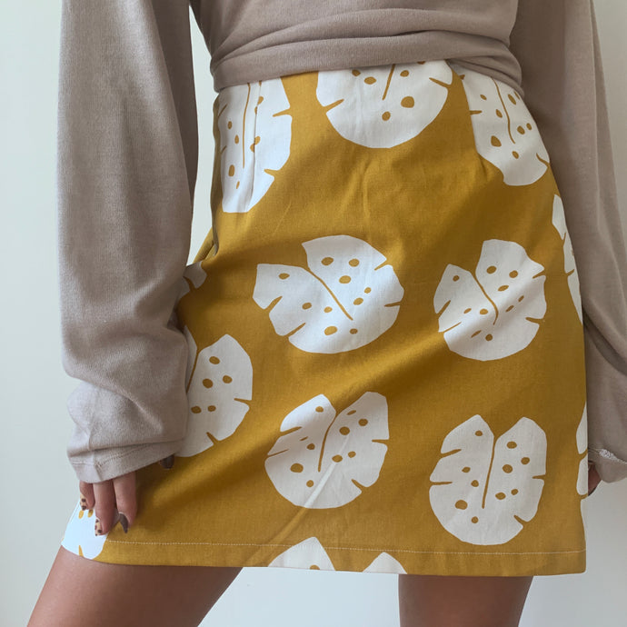 Leafy A-line Mini Skirt