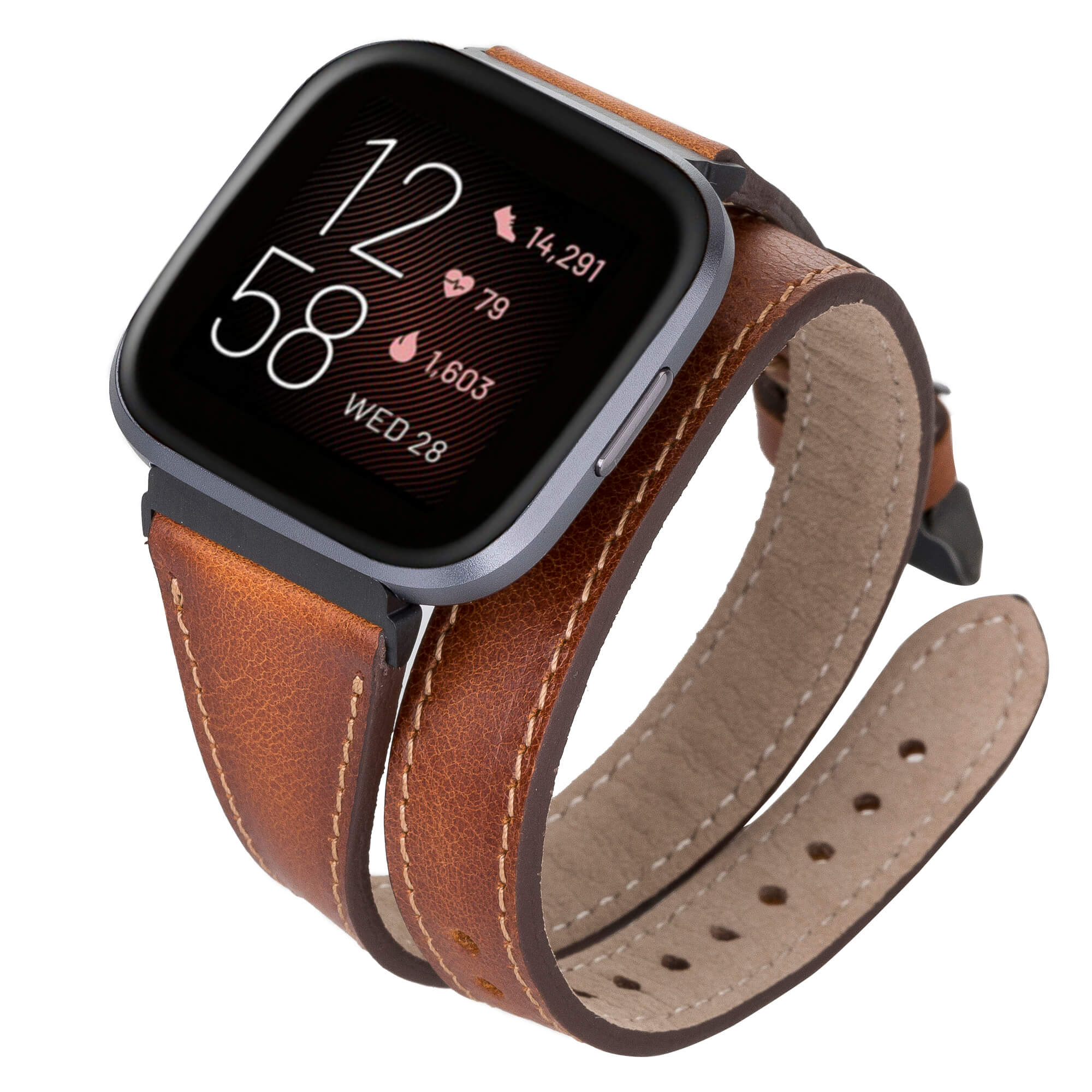 Serena Leather Double Wrap Watch Band for Fitbit Versa