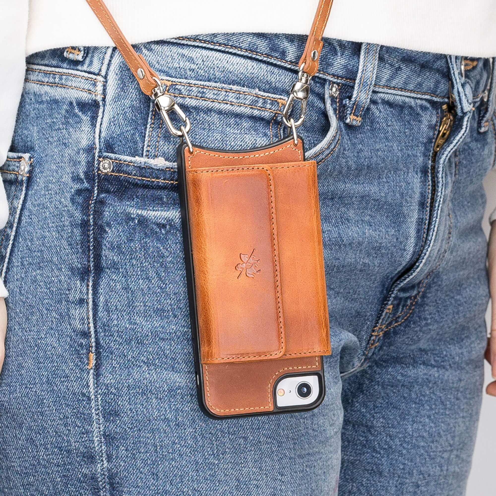 Fano Leather Crossbody Wallet Case for iPhone 8