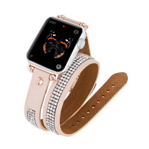 Livorno Leather Double Wrap Band Strap for Apple Watch