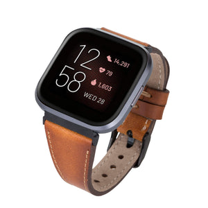 Messina Leather Slim Watch Band for Fitbit Versa