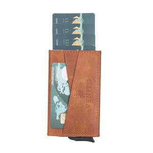 Turin Premium Genuine Leather Mechanical Card Holder
