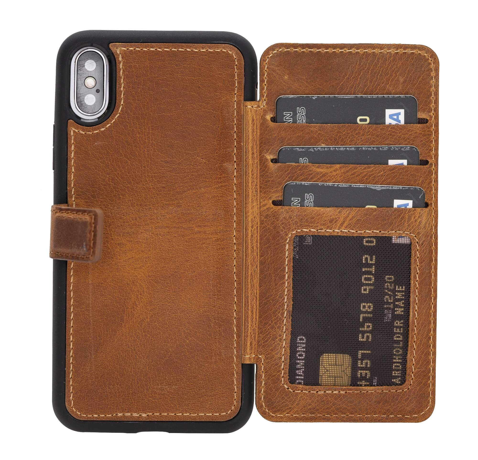 Verona RFID Blocking Leather Slim Wallet Case for iPhone XS