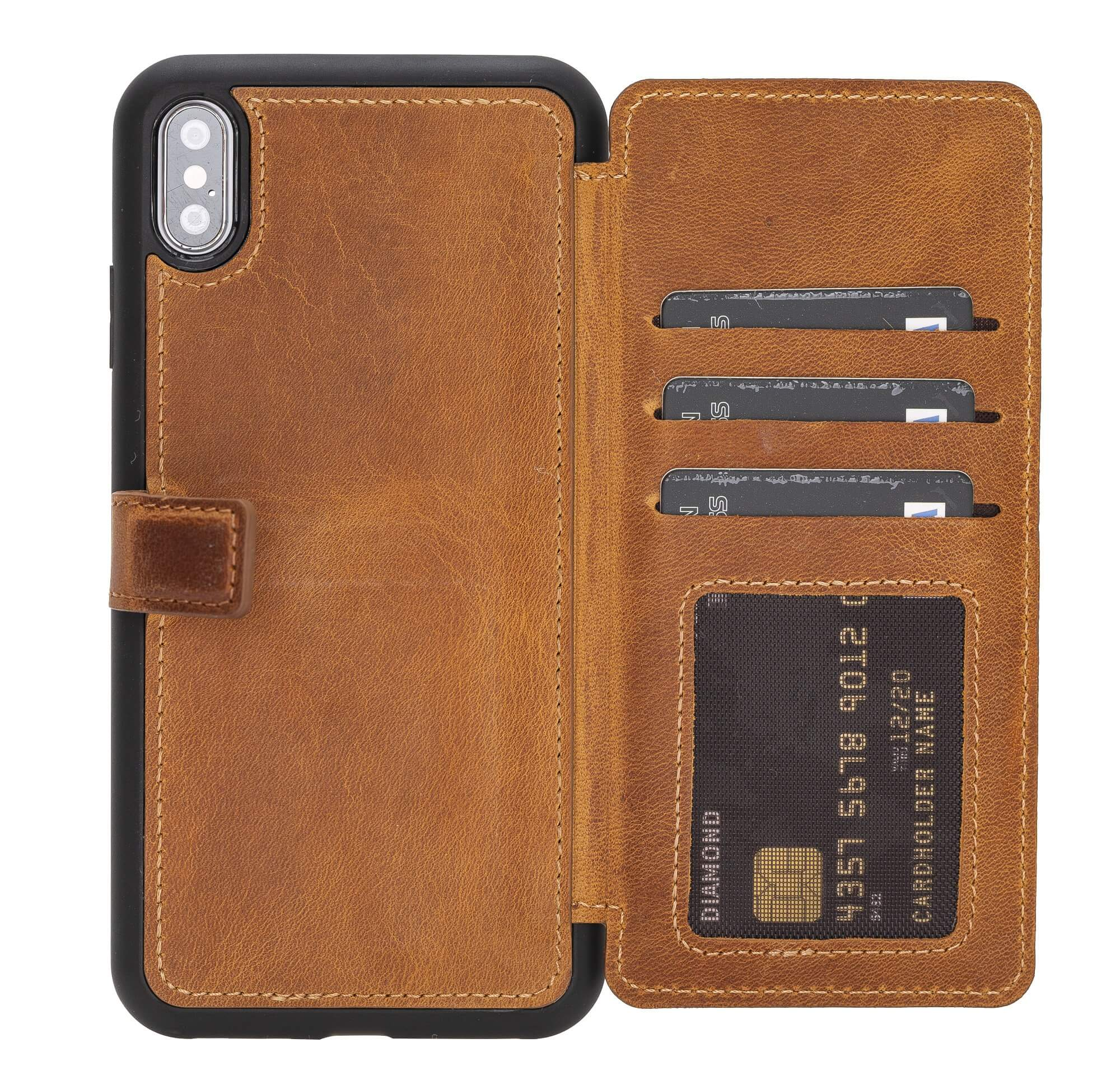 Verona RFID Blocking Leather Slim Wallet Case for iPhone XS Max
