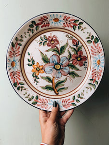 Rustic Hand~painted European Floral Wall Plate