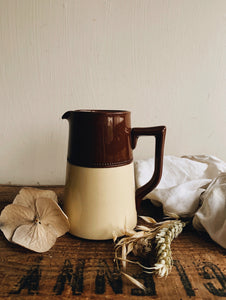 Vintage 1940's Gibson Two Tone Brown & Cream Jug with Detailing