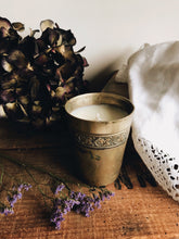 "Load image into Gallery viewer, Vintage French Pewter Engraved Cup ~ ""and relax"" candle (lavender)"