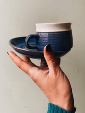 Load image into Gallery viewer, Rustic Ceramic Blue & White Cup and Saucer