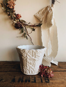 Vintage White Decorative Relief Planter