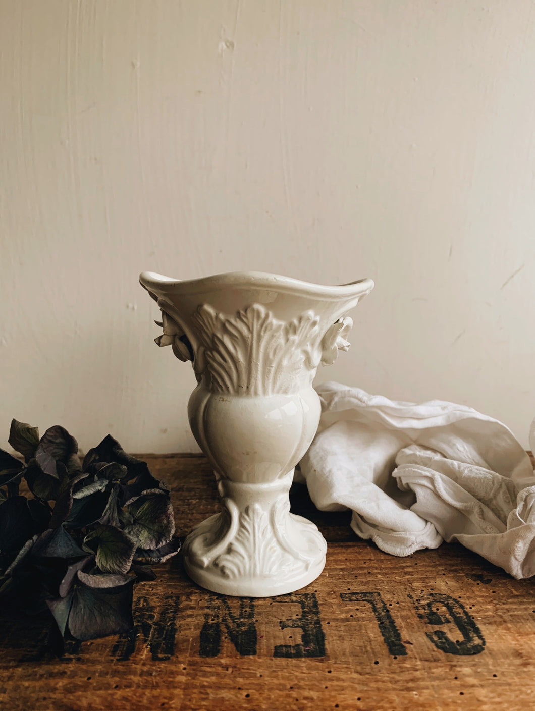 Vintage White Floral Relief Posy Vase