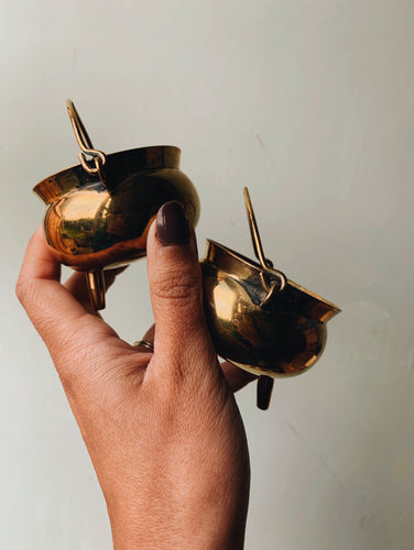 Two Brass Peerage Miniature Witches Cauldron