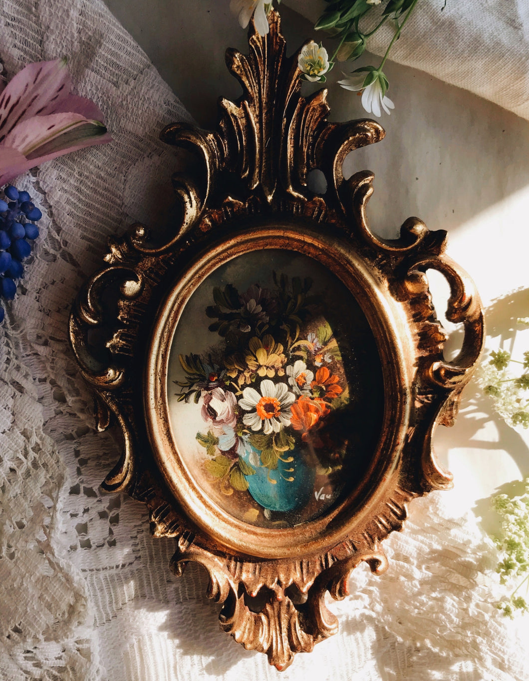 Antique French Rococo Signed Van Holt ~ Early 19th Century Floral Oil Painting