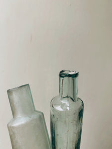 Two Antique Rustic Green / Blue Apothecary Bottles