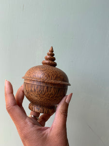 Vintage Wooden Hand~carved Pot with Lid