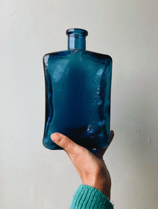 Vintage French Large Blue Bottle