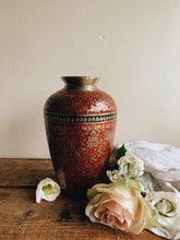 Load image into Gallery viewer, Vintage Red Silver Decorative Vase