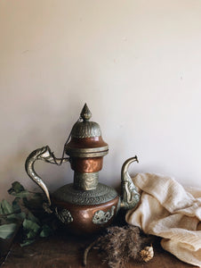 Antique Extra Large Copper & Brass Decorative Coffee Pot