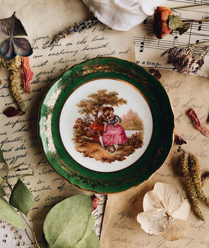Vintage French Green Gilt Whimsey Dish