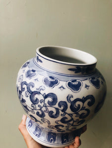 Large Vintage Blue Decorative Ceramic Pot with Lid