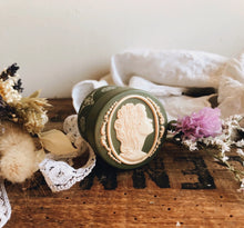 Load image into Gallery viewer, Vintage Green Cameo Vanity Pot