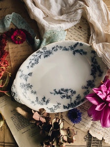 Antique Porcelain Ford Sandon Blue Floral Dish