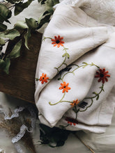 Load image into Gallery viewer, French Floral and Decorative Embroidery Orange Linen