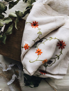 French Floral and Decorative Embroidery Orange Linen
