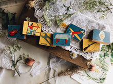 Load image into Gallery viewer, 1960s Wooden Blocks VINTAGE with illustrations