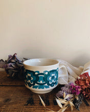 Load image into Gallery viewer, 1970's Retro Blue Floral Transfer Cup