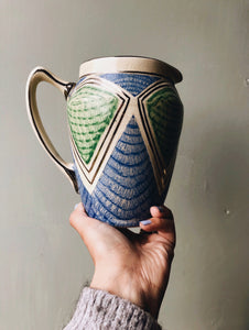 1920s Art Deco Green & Blue Vase (jug)