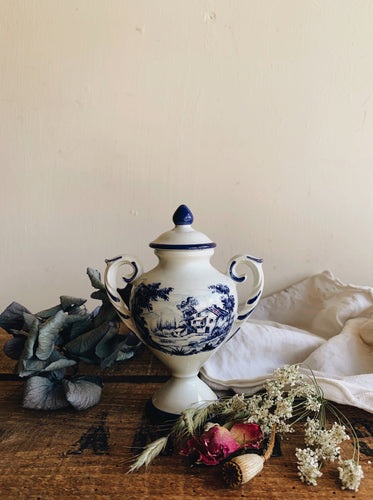 Small Vintage Blue & White Urn