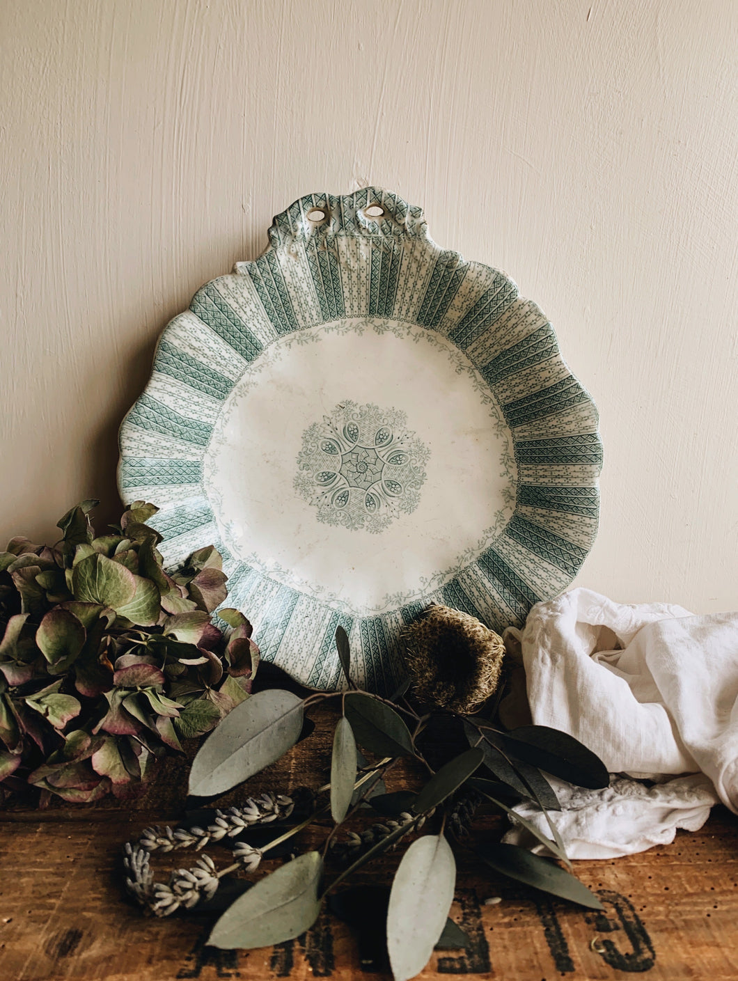 Antique Green Decorative Plate