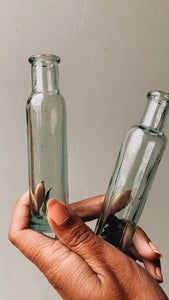 Two Antique Green / Blue Apothecary Bottles