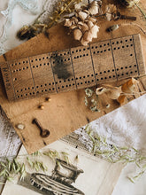 Load image into Gallery viewer, Antique Wooden Cribbage Board