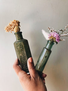 Two Antique Green Apothecary Bottles