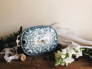 Vintage Teal Ironstone Transfer Dish with Lid