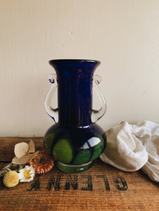 Vintage 1950's Blue & Green Glass Vase
