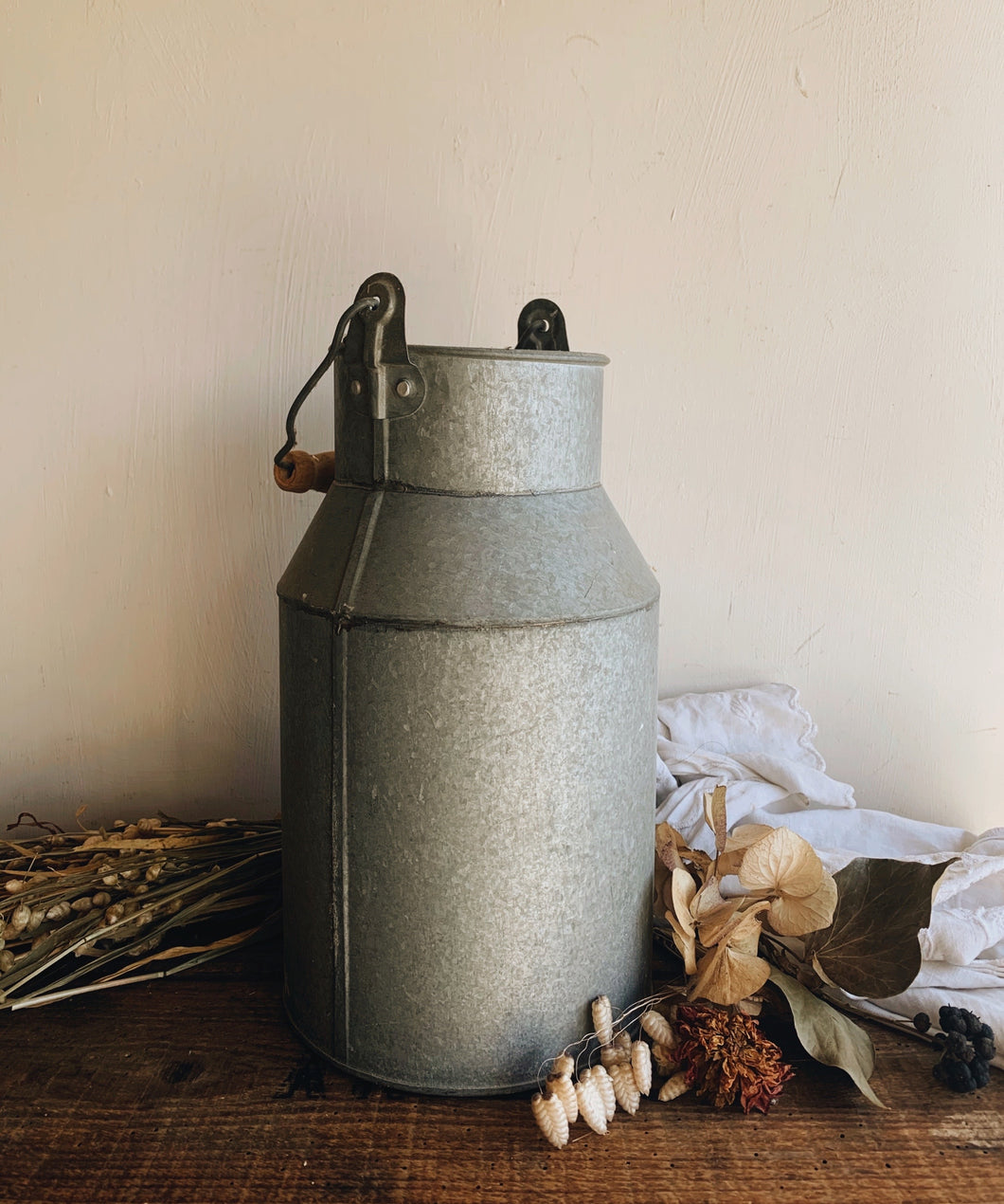 Vintage Rustic Milk Churn with Wooden Handle