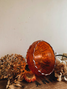 Vintage Decorative Orange Iridescent Bowl