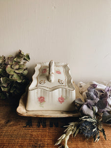 Antique Floral Decorative Cheese & Butter Dish with Top