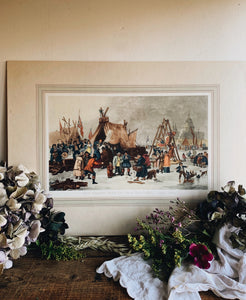 Extra Large Vintage Print ~ The Frost Fair On The River Thames (UK shipping only)
