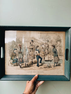 Antique 1880 The Ladies Newspaper ~ Paris Fashion Illustration Plate Set in a Tray