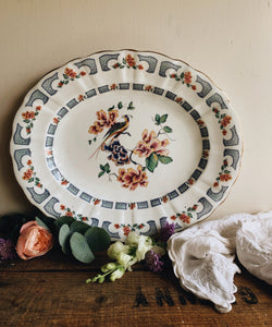 Large Antique Decorative Paradise Bird Serving Platter