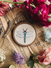 Load image into Gallery viewer, Vintage Dragonfly Embroidery Hoop / Hanging
