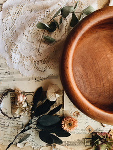 Large Vintage Rustic Handmade Wooden Bowl (UK shipping ONLY)