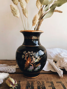 Vintage Greek Decorative Peacock Gold & Black Vase