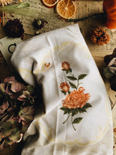 Load image into Gallery viewer, Large Vintage Rose Linen Cloth