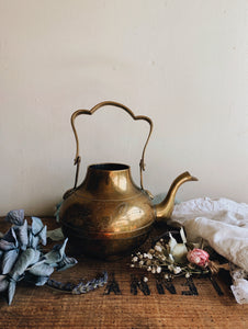 Vintage Decorative Brass Tea Pot (no top)
