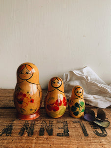 Three Vintage Russian Dolls